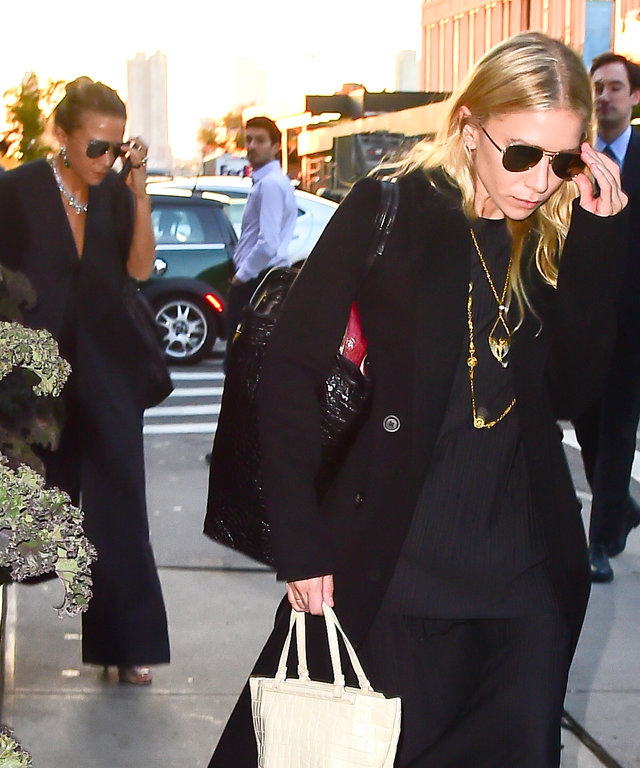 Mary-Kate and Ashley Olsen Complement One Another with Dark Layers in N.Y.C.