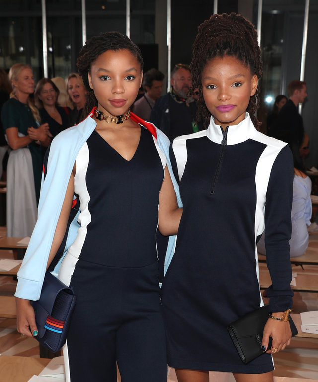 NEW YORK, NY - SEPTEMBER 13: Singers Chloe Bailey (L) and Halle Bailey attends the Tory Burch fashion show during New York Fashion Week at The Whitney Museum of American Art on September 13, 2016 in New York City.  (Photo by Cindy Ord/Getty Images)