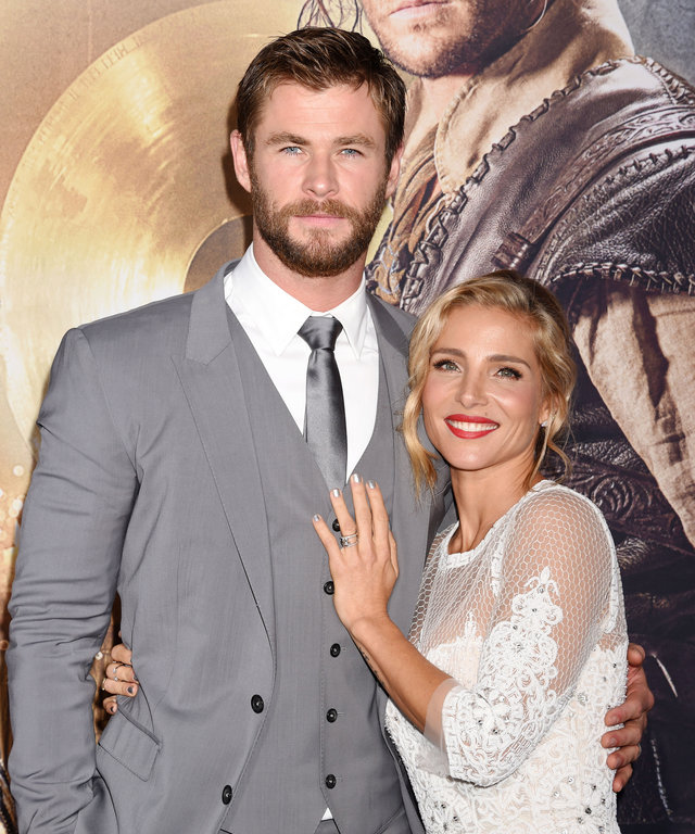 WESTWOOD, CA - APRIL 11: Actor Chris Hemsworth and wife/actress Elsa Pataky attend the premiere of Universal Pictures' 'The Huntsman: Winter's War' at the Regency Village Theatre on April 11, 2016 in Westwood, California. (Photo by Jeffrey Mayer/WireImage