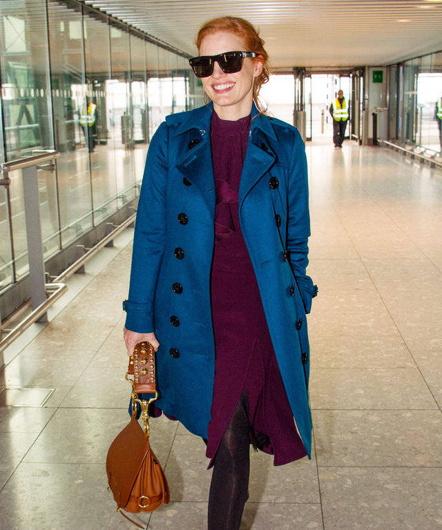Jessica Chastain's Jewel-Toned Travel Look Is Proof She's Airport Royalty