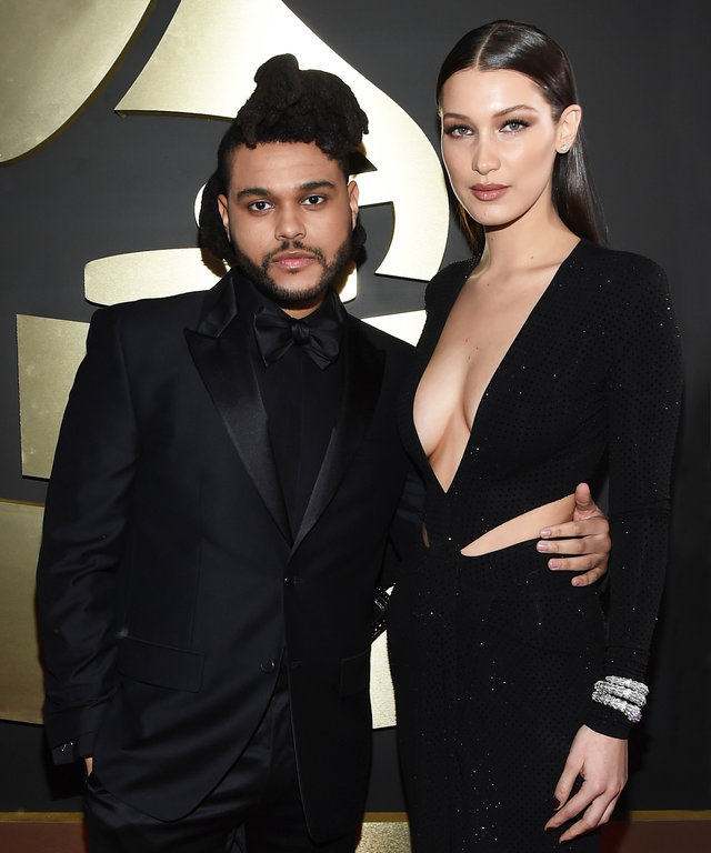 LOS ANGELES, CA - FEBRUARY 15:  Recording artist The Weeknd (L) and model Bella Hadid attends The 58th GRAMMY Awards at Staples Center on February 15, 2016 in Los Angeles, California.  (Photo by Larry Busacca/Getty Images for NARAS)