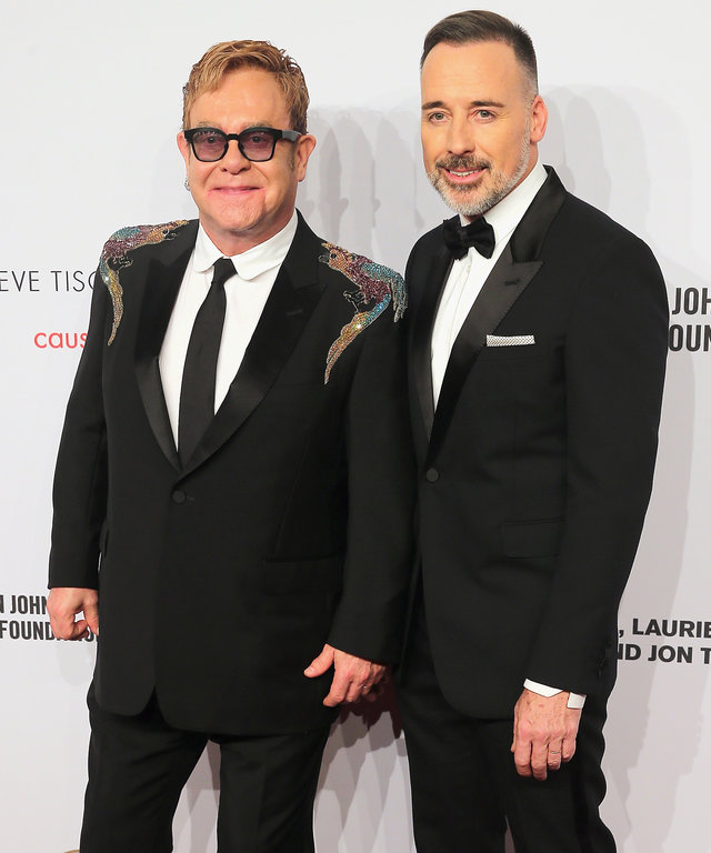 NEW YORK, NY - NOVEMBER 02:  Sir Elton John and David Furnish attend 15th Annual Elton John AIDS Foundation An Enduring Vision Benefit at Cipriani Wall Street on November 2, 2016 in New York City.  (Photo by J. Countess/WireImage)