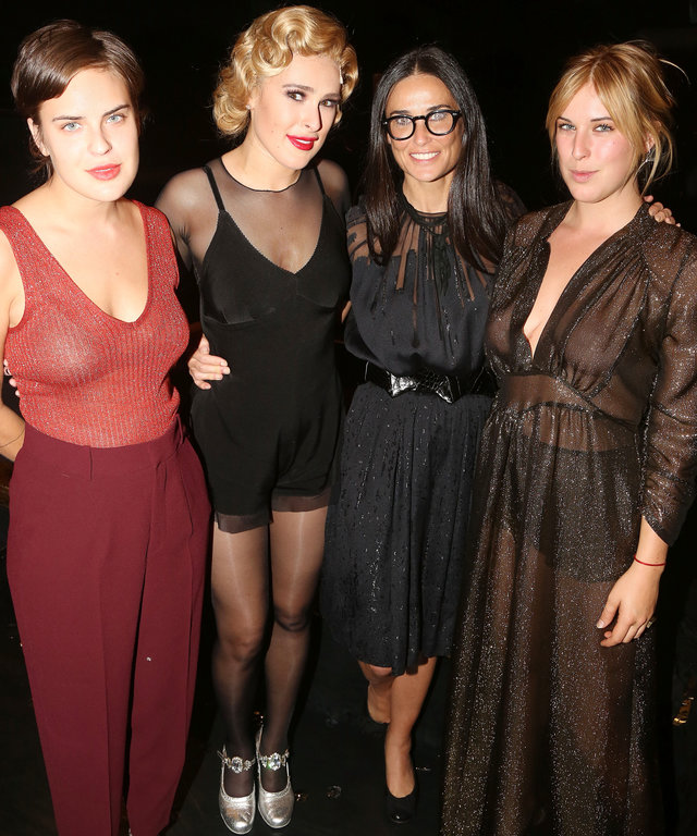 "NEW YORK, NY - SEPTEMBER 21:  (EXCLUSIVE COVERAGE) (L-R) Tallulah Belle Willis, sister Rumer Willis, mother Demi Moore and Scout LaRue Willis pose backstage as Rumer makes her broadway debut as ""Roxie Hart"" in Broadway's ""Chicago"" on Broadway at The Ambas"