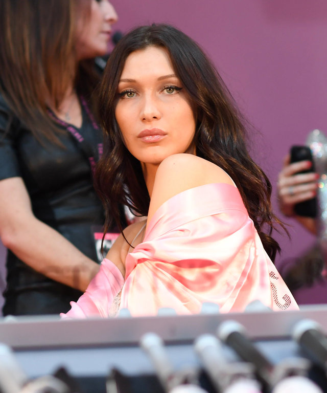 PARIS, FRANCE - NOVEMBER 30:  Bella Hadid poses backstage at the annual Victoria's Secret fashion show at Grand Palais on November 30, 2016 in Paris, France.  (Photo by Samir Hussein/Samir Hussein/WireImage)