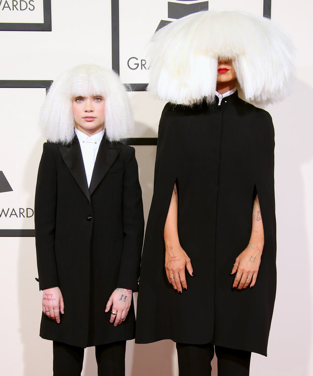 LOS ANGELES, CA - FEBRUARY 08: Maddie (L) and Sia attend The 57th Annual GRAMMY Awards at the STAPLES Center on February 8, 2015 in Los Angeles, California. (Photo by Dan MacMedan/WireImage)