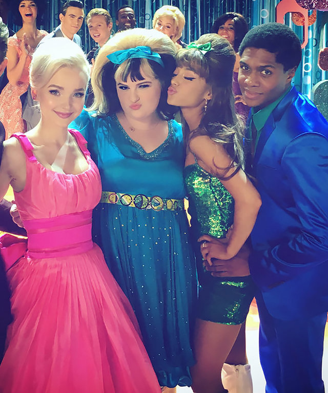 HAIRSPRAY LIVE! -- Pictured: (l-r) Shahadi Wright Joseph as Little Inez, Garrett Clayton as Link Larkin, Dove Cameron as Amber Von Tussle, Maddie Baillio as Tracy Turnblad, Ariana Grande as Penny Pingleton, Ephraim Skyes as Seaweed J. Stubbs, Derek Hough