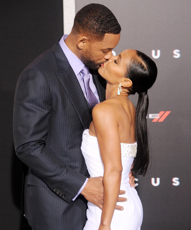 HOLLYWOOD, CA - FEBRUARY 24: Actors Will Smith and Jada Pinkett Smith arrive at the Los Angeles World Premiere of Warner Bros. Pictures 'Focus' at TCL Chinese Theatre on February 24, 2015 in Hollywood, California. (Photo by Gregg DeGuire/WireImage)