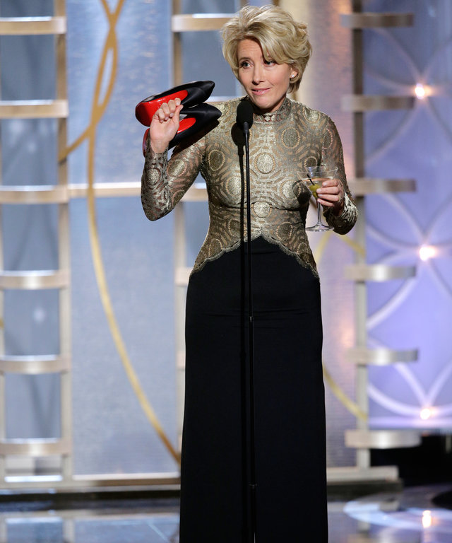 BEVERLY HILLS, CA - JANUARY 12:  In this handout photo provided by NBCUniversal, Presenter Emma Thompson speaks onstage during the 71st Annual Golden Globe Award at The Beverly Hilton Hotel on January 12, 2014 in Beverly Hills, California.  (Photo by Paul
