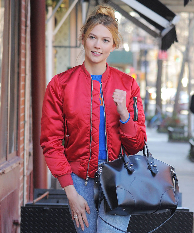 NEW YORK - DECEMBER 19: Karlie Kloss seen filming (Santa Kloss) at Magnolia Bakery in West Village and the Helicopter Pad in Lower Manhattan on December 19, 2016 in New York, New York.  (Photo by Josiah Kamau/BuzzFoto via Getty Images)