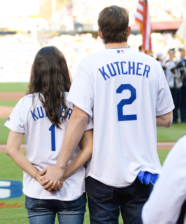 LOS ANGELES, CA - OCTOBER 19:  Mila Kunis and Ashton Kutcher attend game 4 of the NLCS between the Chicago Cubs and the Los Angeles Dodgers at Dodger Stadium on October 19, 2016 in Los Angeles, California.  (Photo by Noel Vasquez/GC Images)