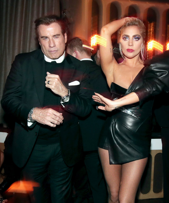 LOS ANGELES, CA - FEBRUARY 12:  Actor John Travolta (L) and recording artist Lady Gaga attend Interscope's Grammy After Party with Lady Gaga at the Peppermint Club on February 12, 2017 in Los Angeles, California.  (Photo by Christopher Polk/Getty Images f