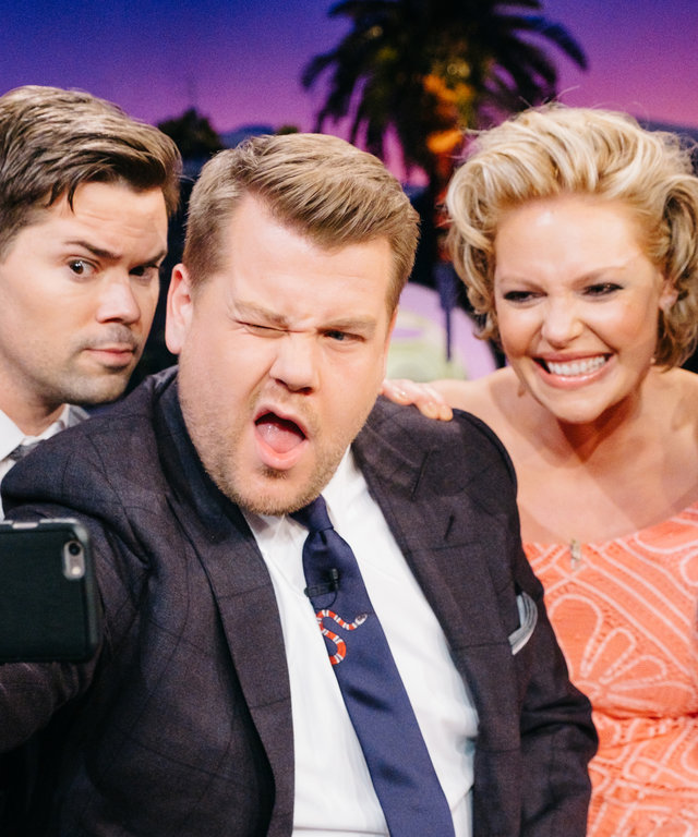 Andrew Rannells, Katherine Heigl, and Lars Ulrich chat with James Corden during  The Late Late Show with James Corden,  Tuesday, February 14, 2017 (12:35 PM-1:37 AM ET/PT) On The CBS Television Network.  Photo: Terence Patrick/CBS ©2017 CBS Broadca