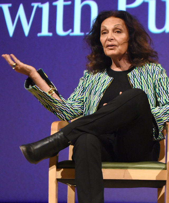 Diane von Furstenberg speaks about confidence and how to design your best life at Seneca Women's Fast Forward Women's Innovation Forum, Saturday, Sept. 23, 2017, held at the Metropolitan Museum of Art in New York.