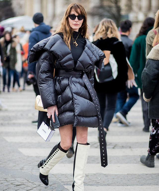 Ece Sukan outside Chanel wearing puffer jacket