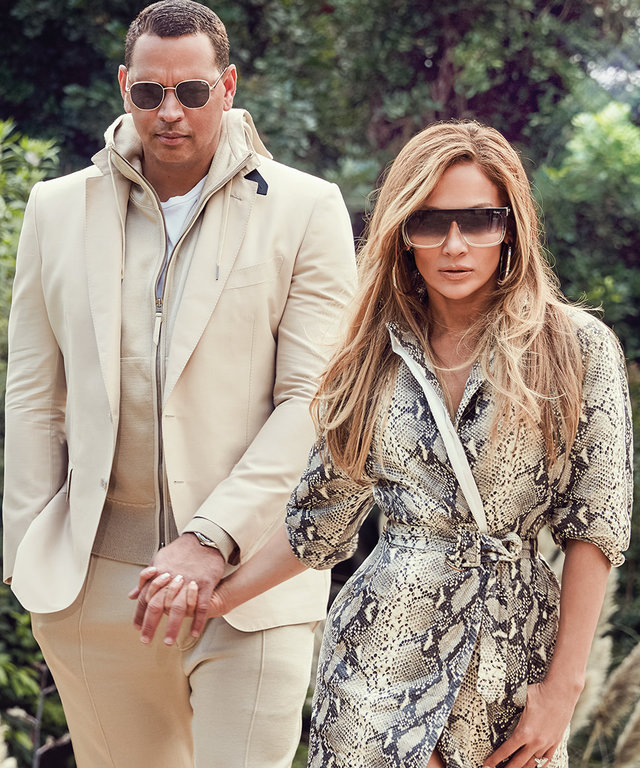 Jennifer Lopez and Alex Rodriguez wearing Quay