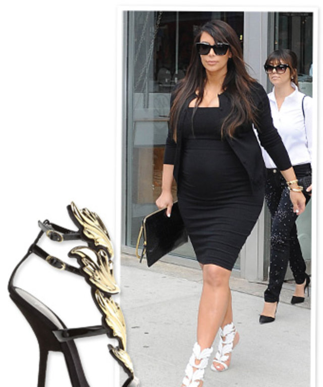 65ca185ce4865 Kim Kardashian s Maternity Style Includes Wearing Shoes Designed by Kanye  West (Aww...)