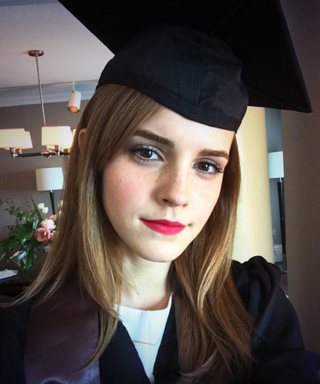 Emma Watson\'s Weekend Wardrobe? A Cap and Gown! | InStyle.com