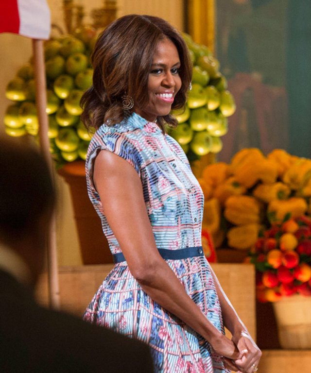 Michelle Obama at 2014 Kids State Dinner in  Mary Katrantzou dress.