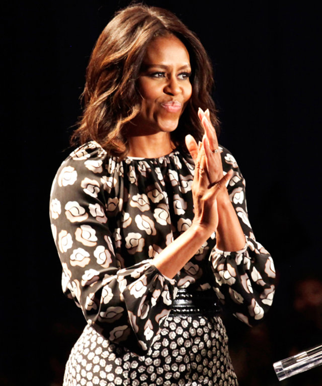 Michelle Obama wears two DVF dresses.