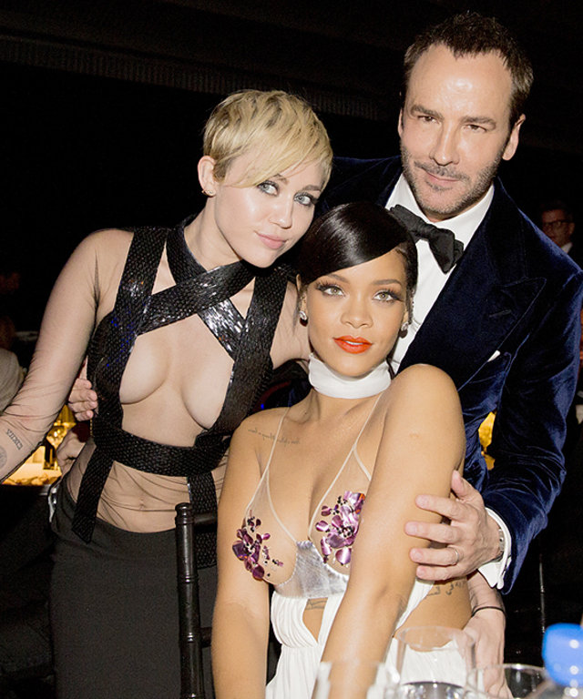Miley Cyrus, Rihanna, and Tom Ford at amfAR Inspiration Gala
