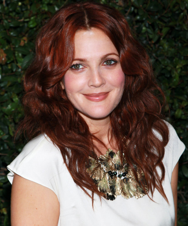 Marsala Hair Color - Drew Barrymore