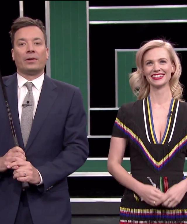 January Jones Jimmy Fallon Tonight Show Pie Golf