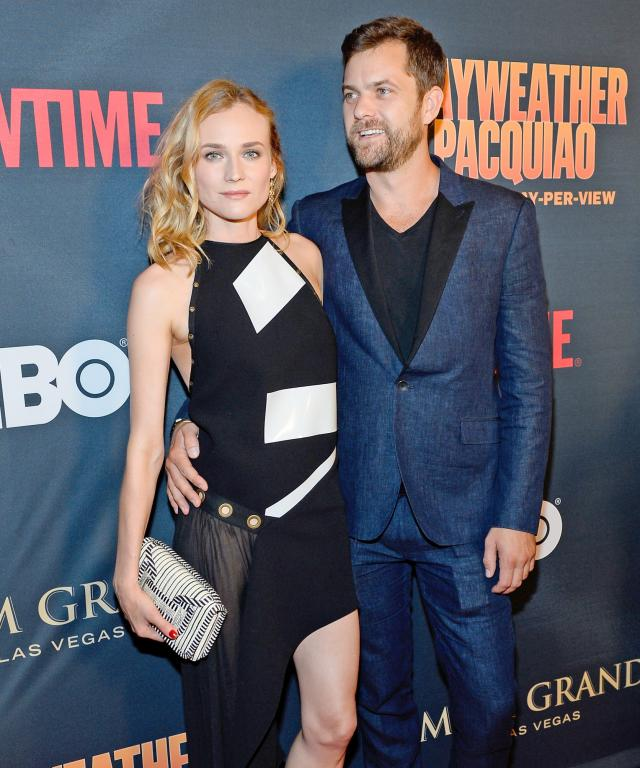 "Actress Diane Kruger (L) and actor Joshua Jackson attend the SHOWTIME And HBO VIP Pre-Fight Party for ""Mayweather VS Pacquiao"" at MGM Grand Hotel & Casino on May 2, 2015 in Las Vegas, Nevada."