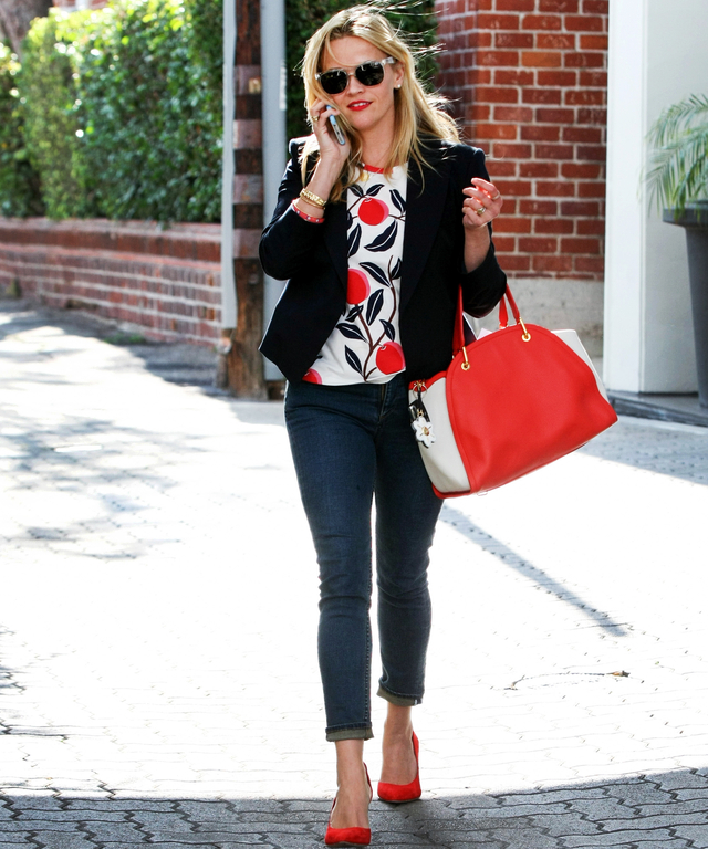 Reese Witherspoon is seen leaving her office building in Beverly Hills on June 10, 2015 in Los Angeles, California.