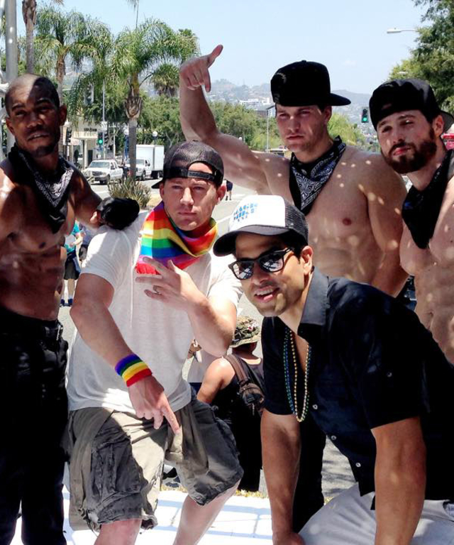 Magic Mike Cast at on a float in the LA Pride's Parade