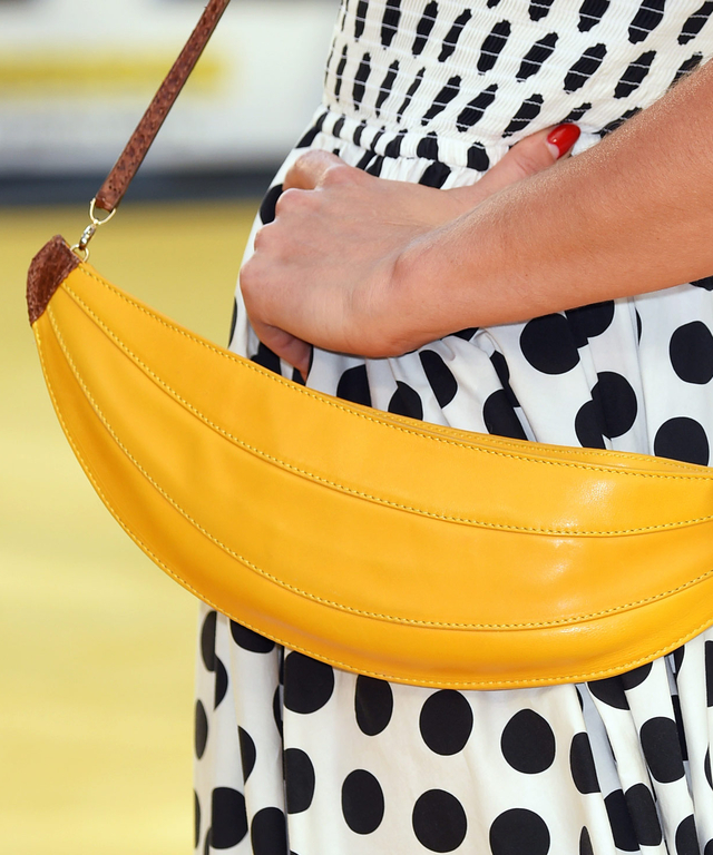 Charlotte Dellal, bag detail, attends the World Premiere of 'Minions' at Odeon Leicester Square on June 11, 2015 in London, England.