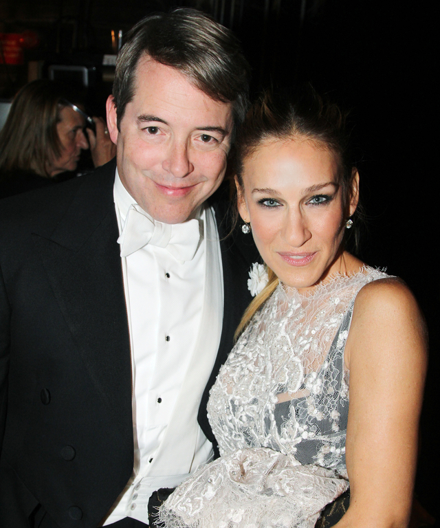 Matthew Broderick and wife Sarah Jessica Parker pose backstage at The Opening Night for  It's Only A Play  on Broadway at The Gerald Schoenfeld Theatre on October 9, 2014 in New York City.