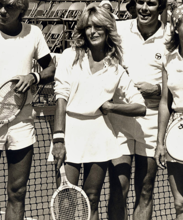 Farrah Fawcett Attends Celebrity Tennis Match