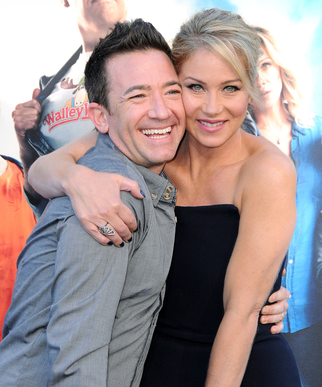 (L-R) Actor David Faustino and actress Christina Applegate arrive at the Premiere Of Warner Bros. 'Vacation' at Regency Village Theatre on July 27, 2015 in Westwood, California.