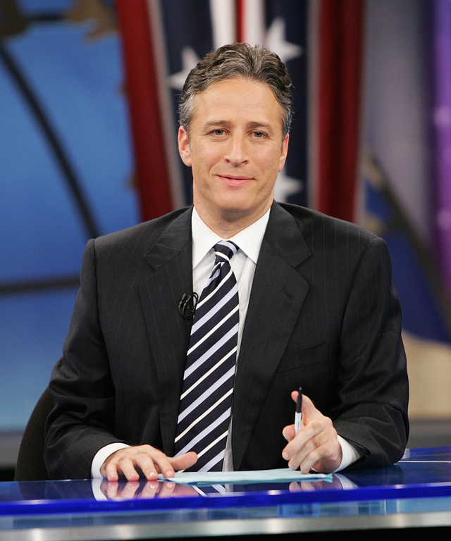 Jon Stewart appears during live Election Night coverage of The Daily Show with Jon Stewart November 2, 2004 in New York City.