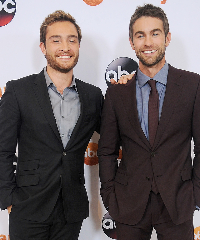 BEVERLY HILLS, CA - AUGUST 04:  Actors Ed Westwick and Chace Crawford arrive at the Disney ABC Television Group's 2015 TCA Summer Press Tour on August 4, 2015 in Beverly Hills, California.