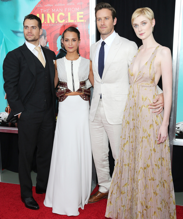 Henry Cavill, Alicia Vikander, Armie Hammer and Elizabeth Debicki attend the New York Premiere of 'The Man From U.N.C.L.E.' at Ziegfeld Theater on August 10, 2015 in New York City.