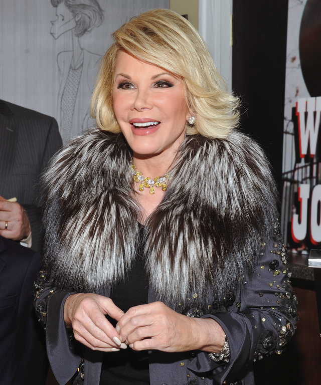 Television personality and actress Joan Rivers poses for a picture on location for the filming of her reality show  Joan & Melissa: Joan Knows Best  at Theatre 80 St. Marks on September 3, 2011 in New York, United States.
