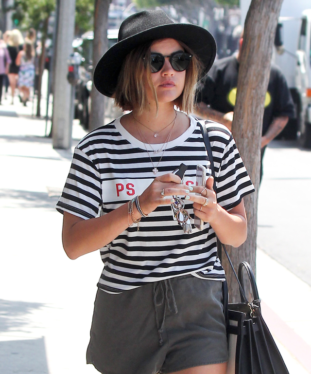 LOS ANGELES, CA - JULY 06: Lucy Hale is seen on July 06, 2015 in Los Angeles, California.  (Photo by Bauer-Griffin/GC Images)