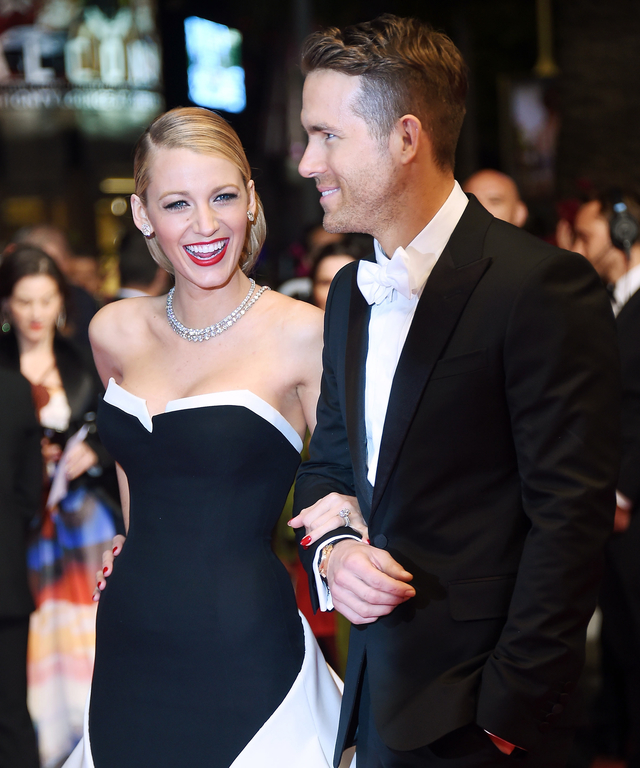 """yan Reynolds and Blake Lively attend """"The Captives"""" Premiere at the 67th Annual Cannes Film Festival on May 16, 2014 in Cannes, France."""