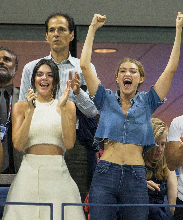 Kendall Jenner, Gigi Hadid and Joe Jonas watch Serena Williams play her sister Venus at the US Open in New York