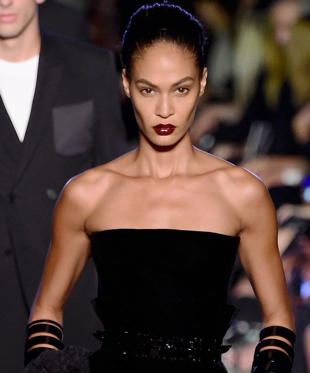 Model Joan Smalls walks the runway wearing Givenchy Spring 2016 during New York Fashion Week at Pier 26 at Hudson River Park on September 11, 2015 in New York City.
