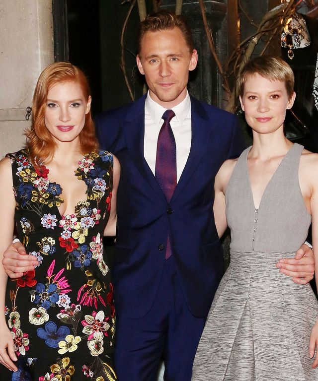 Jessica Chastain, Tom Hiddleston, and Mia Wasikowska attend a celebration of Bergdorf Goodman Windows inspired by the Legendary Pictures and Universal Pictures film,  Crimson Peak  at Bergdorf Goodman on October 13, 2015 in New York City.