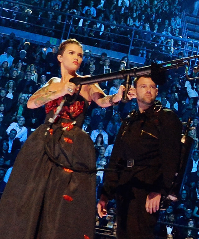 Co-host actress Ruby Rose appears on stage during the MTV EMA's 2015 at the Mediolanum Forum on October 25, 2015 in Milan, Italy.
