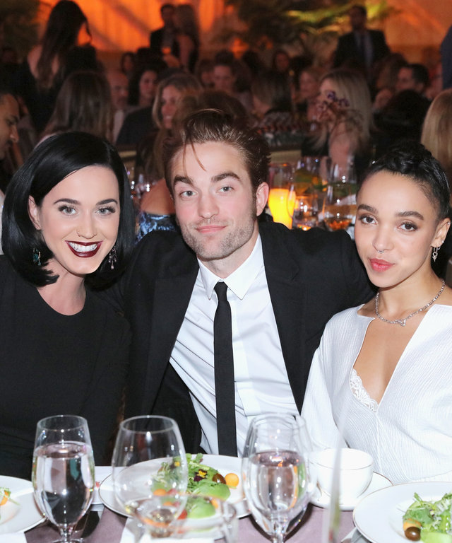 (L-R) Singer Katy Perry, actor Robert Pattinson and FKA twigs attend the 8th Annual GO Campaign Gala at Montage Beverly Hills on November 12, 2015 in Beverly Hills, California.