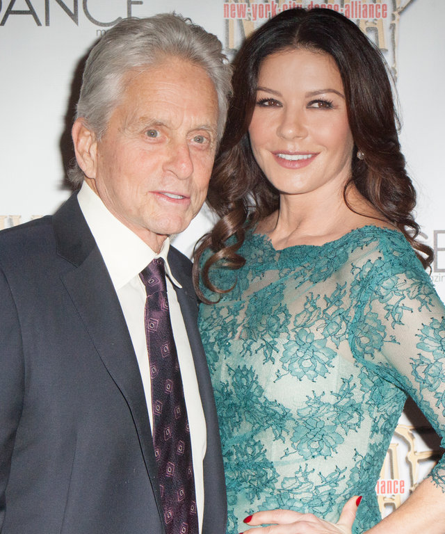 "Michael Douglas and Catherine Zeta-Jones attend NYC Dance Alliance Foundation's ""Bright Lights Shining Stars"" Gala at NYU Skirball Center on September 27, 2015 in New York City."