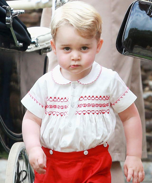 Prince George of Cambridge leaves the Church of St Mary Magdalene on the Sandringham Estate for the Christening of Princess Charlotte of Cambridge on July 5, 2015 in King's Lynn, England.