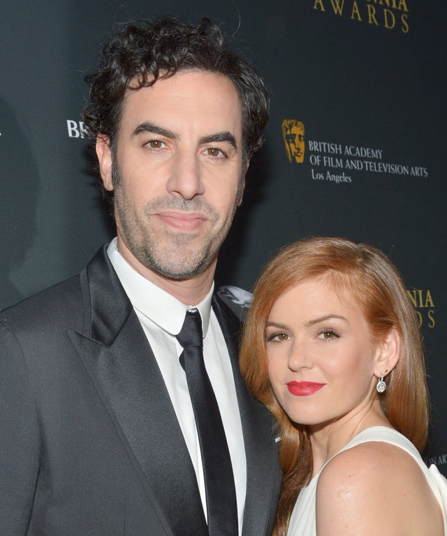 Actor Sacha Baron Cohen and actress Isla Fisher attend the 2013 BAFTA LA Jaguar Britannia Awards presented by BBC America at The Beverly Hilton Hotel on November 9, 2013 in Beverly Hills, California.