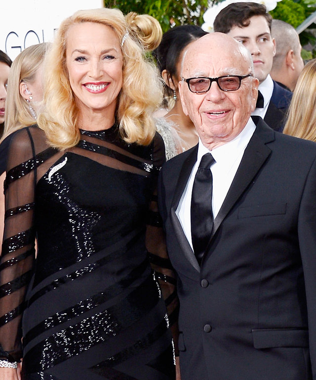 Model Jerry Hall and News Corp. CEO Rupert Murdoch arrive to the 73rd Annual Golden Globe Awards held at the Beverly Hilton Hotel on January 10, 2016.