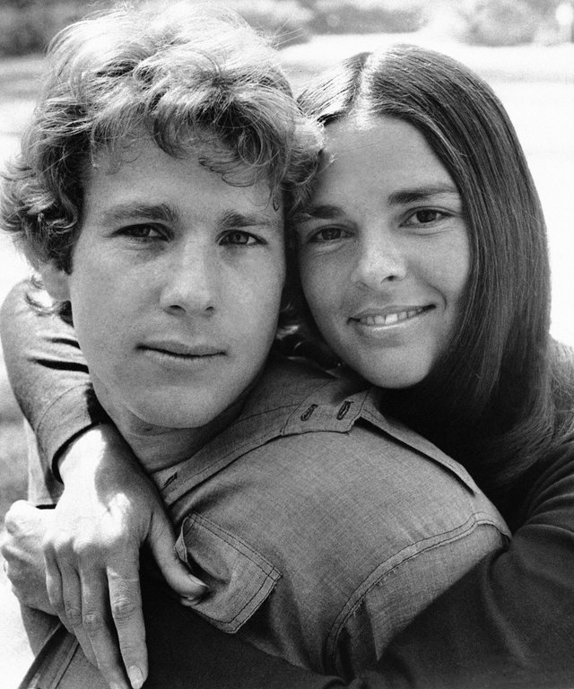 "Ali McGraw embraces Ryan O'Neal in a scenes from the film ""Love Story"" 1970."