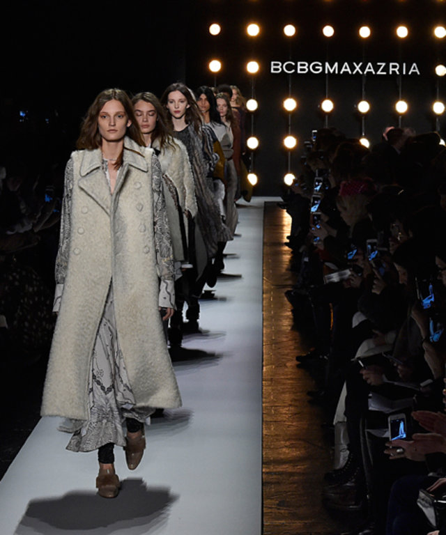 NEW YORK, NY - FEBRUARY 11: A model walks the runway at the BCBGMAXAZRIA Fall/Winter 2016 during New York Fashion Week on February 11, 2016 in New York City. (Photo by Victor VIRGILE/Gamma-Rapho via Getty Images)